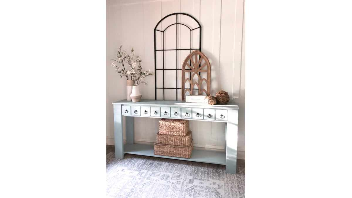 DIY farmhouse console table free woodworking plans