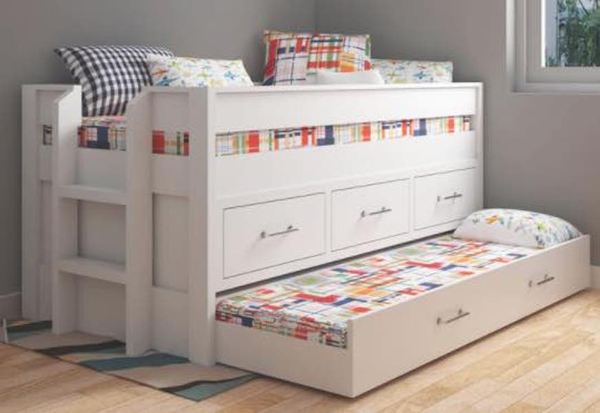 Free plans to build a Captains Bed with Trundle Bed.
