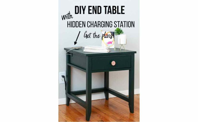 free woodworking plans, end table with charging station