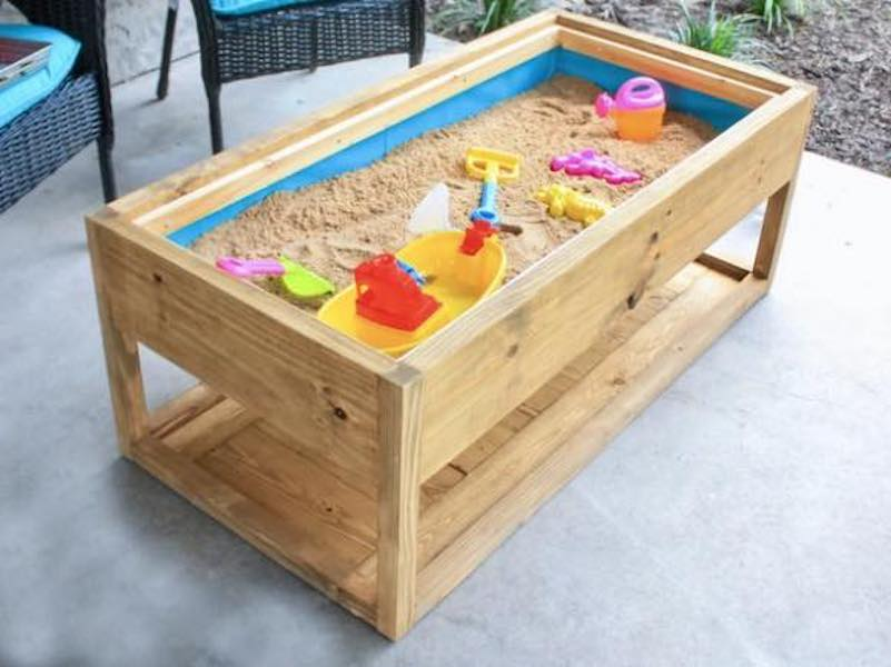 Build an Outdoor Coffee Table/Sandbox using free plans.