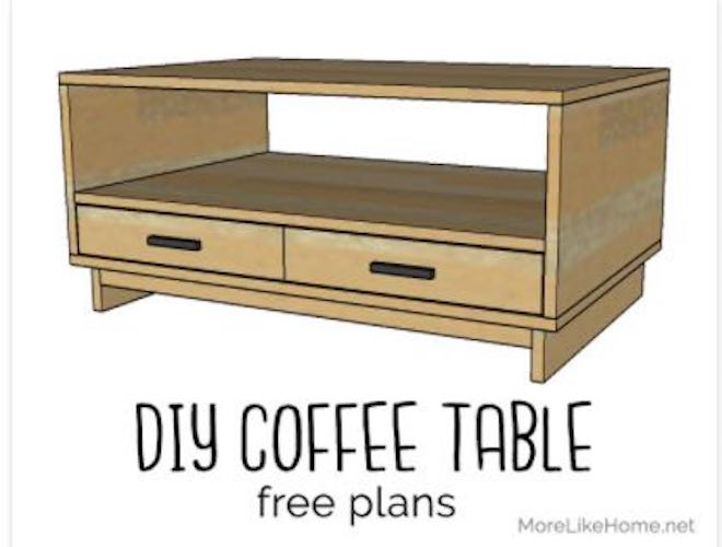 Build a Cubby Coffee Table with Storage using free plans.