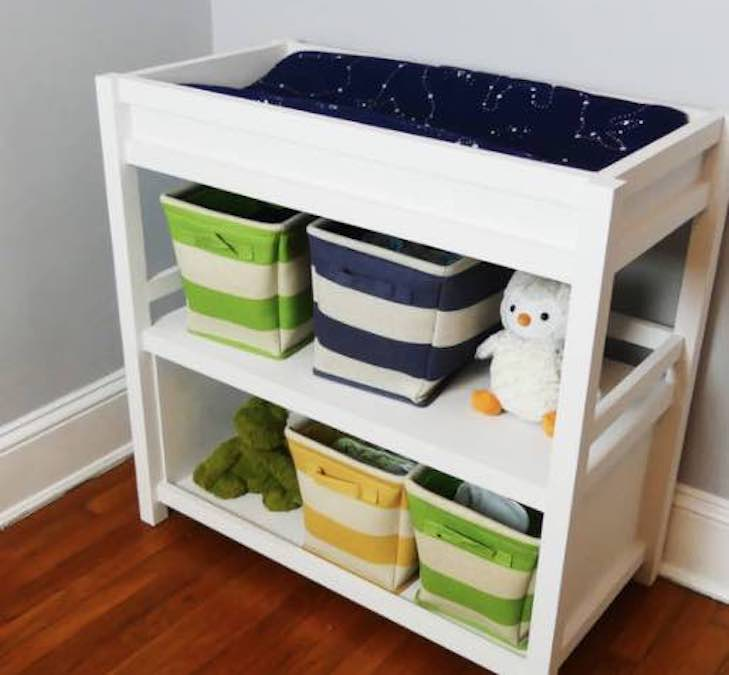 Free plans to build a Modern Changing Table.