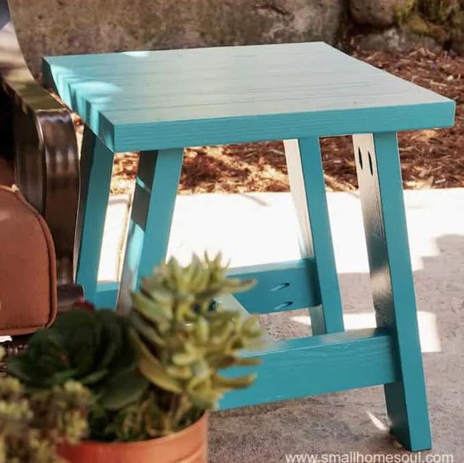 Build an Outdoor Side Table Using 2 x 4s and free plans.