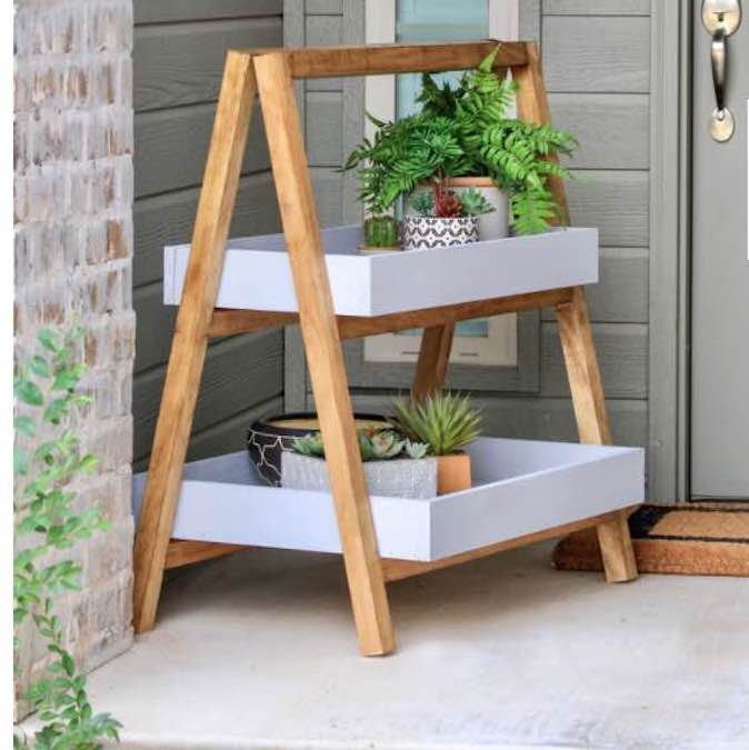 Build an A-Frame Plant Stand using free plans.