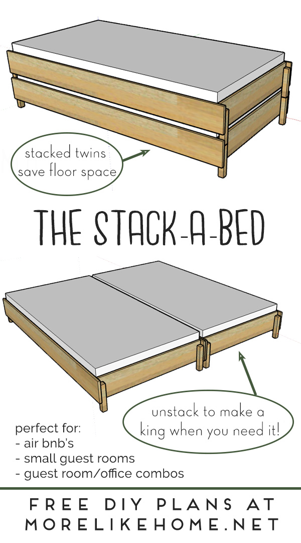 Build a Bed that Converts from Twin to King Size.