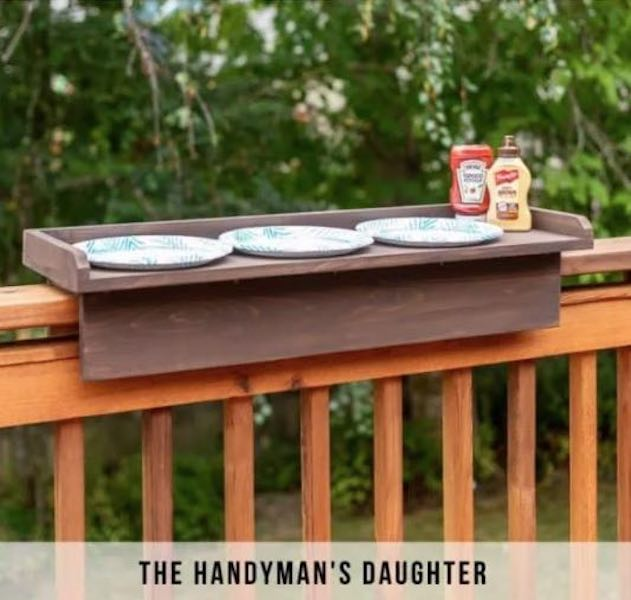 Build a Deck Railing Table using free plans.