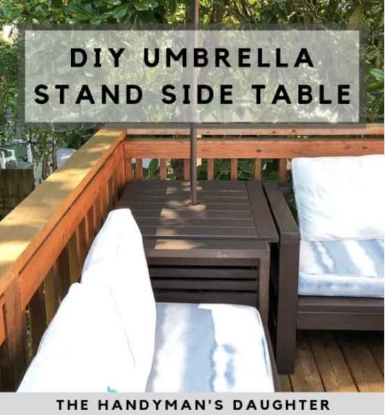 Build an Outdoor Side Table/Umbrella Stand using free plans.