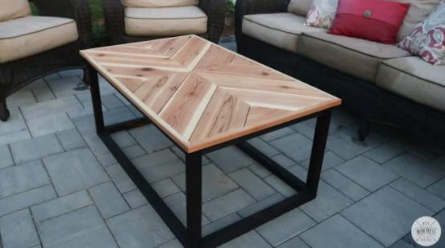 Build a Chevron Coffee Table for Outdoors using free plans.