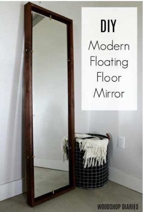 Free plans to build a Modern Floating Floor Mirror.