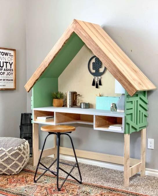 Build a House Frame Kids Desk using free plans.