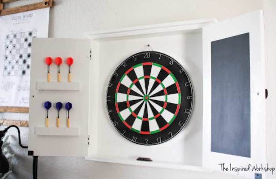 Free plan to build a Dart Board Cabinet.