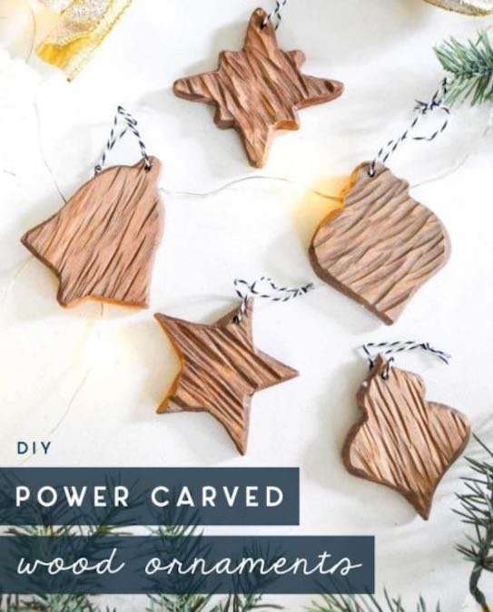 Build Rustic Wooden Ornaments using free plans.