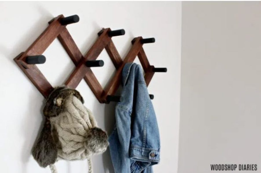 Free plans to build an Accordion Coat Rack.