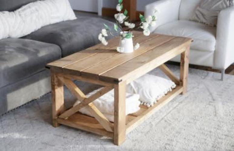 Build a Farmhouse Coffee Table using free plans.