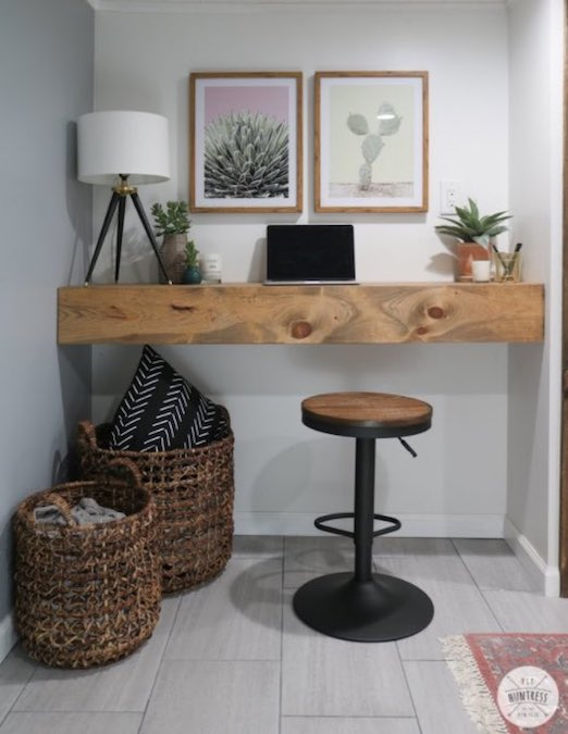 Build a Floating Desk with Storage using free plans.