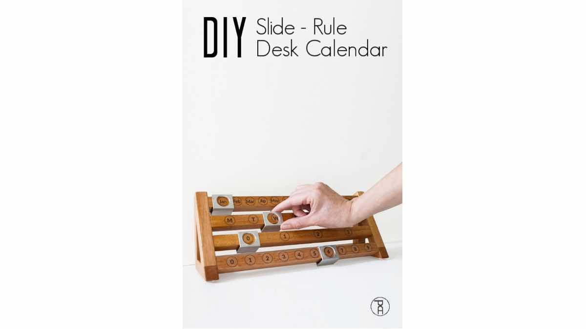 Free woodworking plans to build a slide rule calendar.