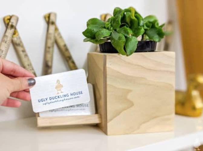 Build a Planter with Business Card Holder using free plans.