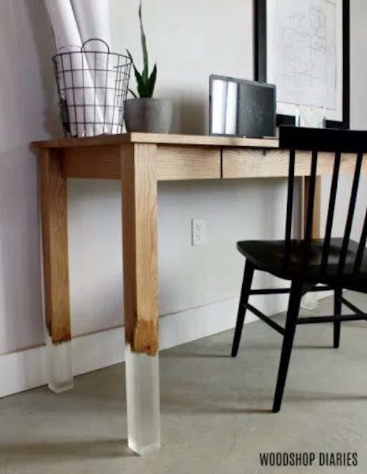 Build a Floating Broken Leg Desk with Resin using free plans.