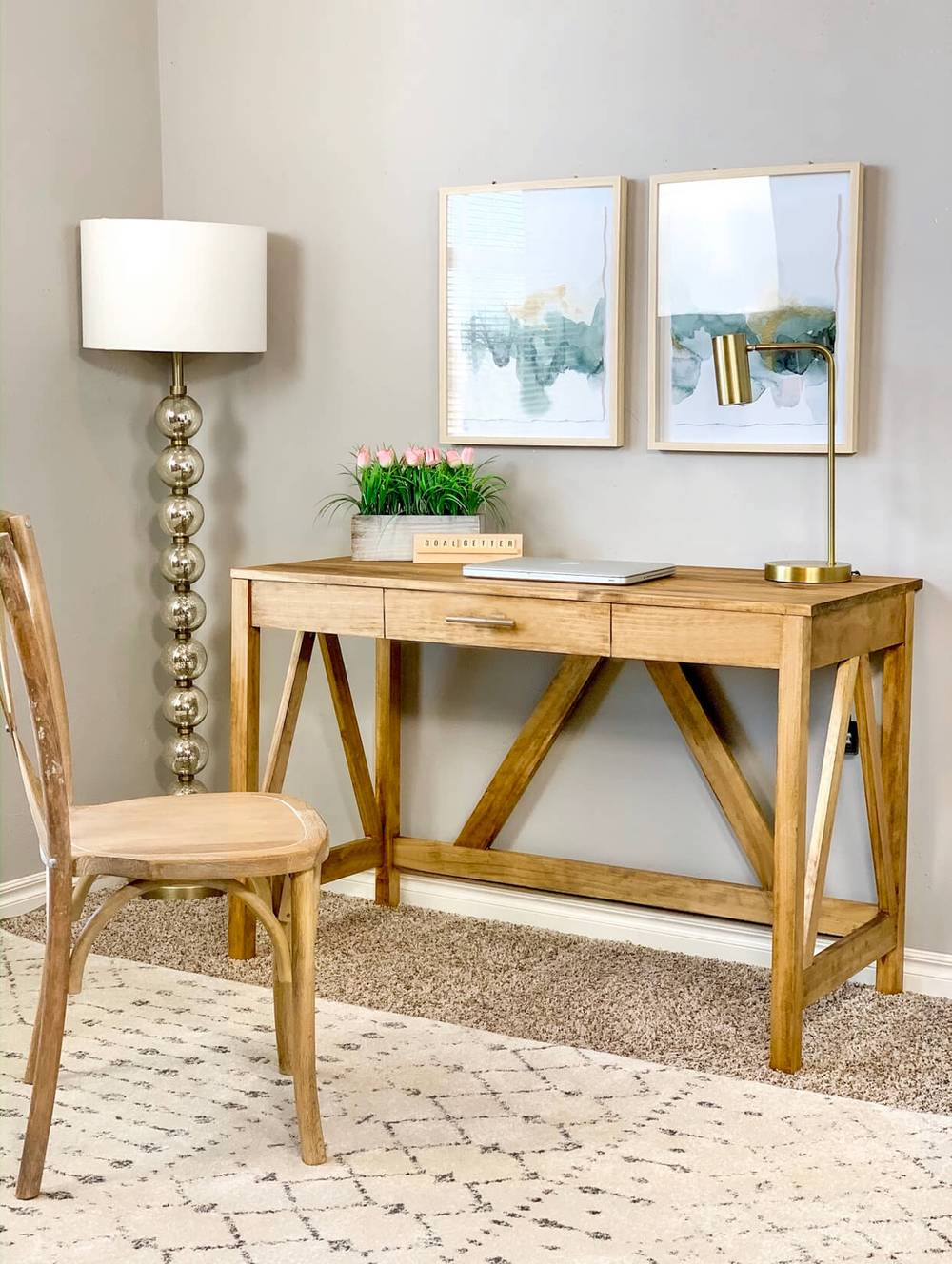 Free woodworking plans to build a Farmhouse Desk.