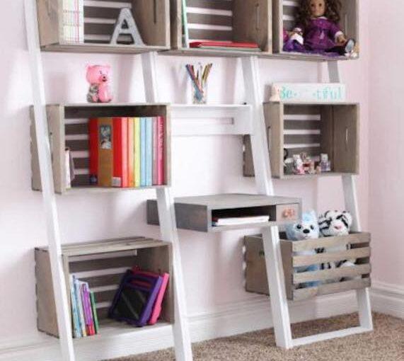 Leaning Crate Ladder Bookshelf/Desk