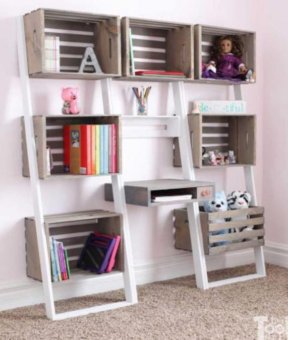 Build a Leaning Crate Ladder Bookshelf/Desk.