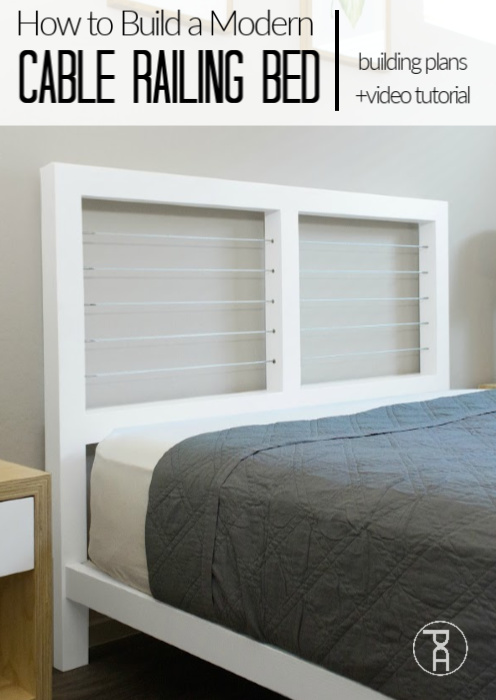 Free plans to build a queen size bed with cable railing headboard.