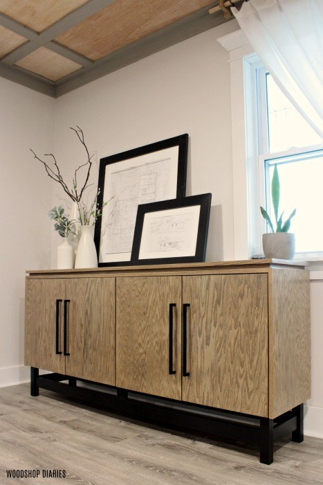 Learn how to build a Modern Console Cabinet with storage.