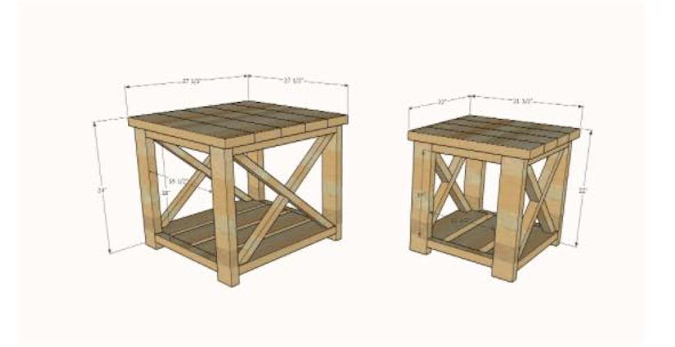 Free woodworking plans to build a Farmhouse Side Table.