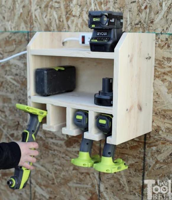 Free plans to build a Drill Storage and Charging Station.