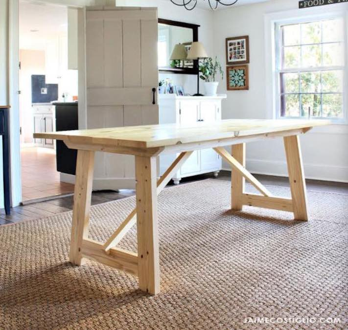 Free woodworking plans to build a modern Dining Table.