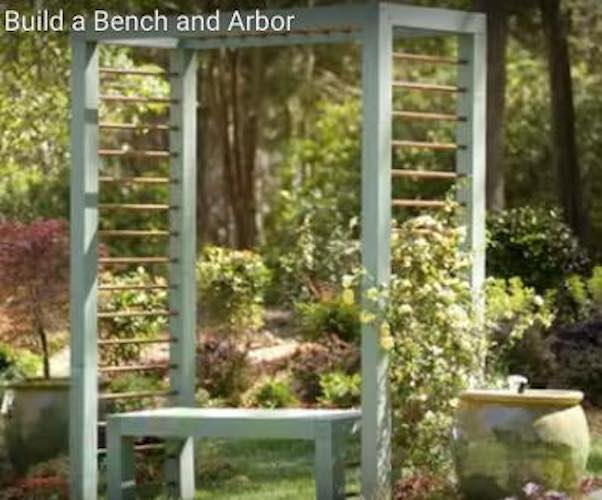 Free plans to build your own Arbor and Bench.