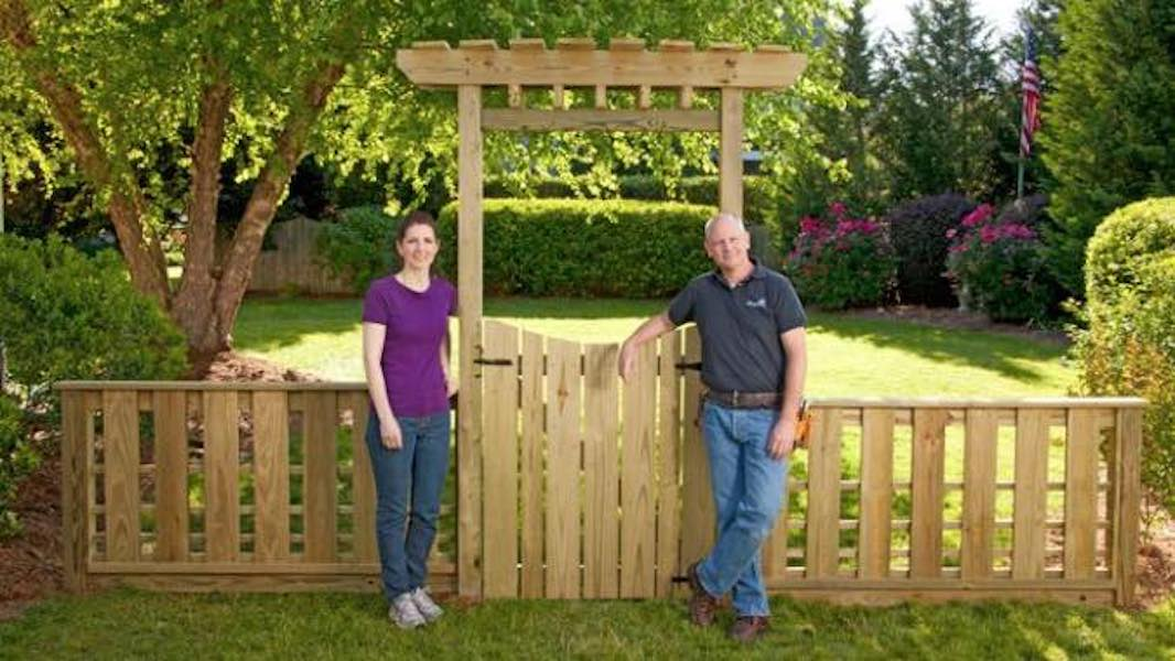 Build a Garden Gate with Arbor and Fence.
