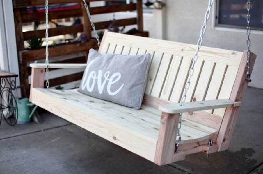 Free woodworking plans to build your own Porch Swing.