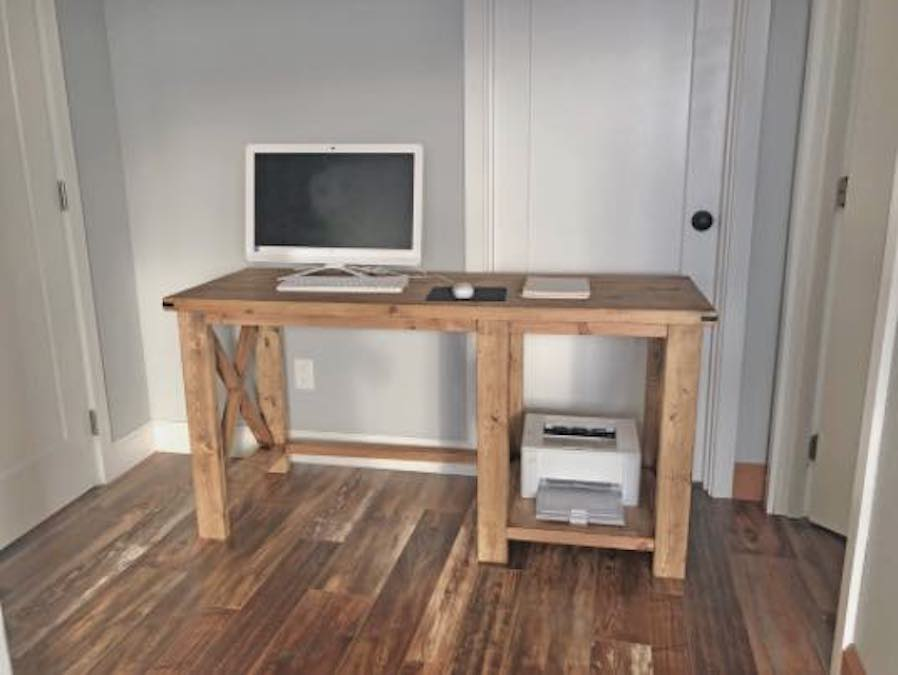 Free plans to build your own Rustic X Desk.