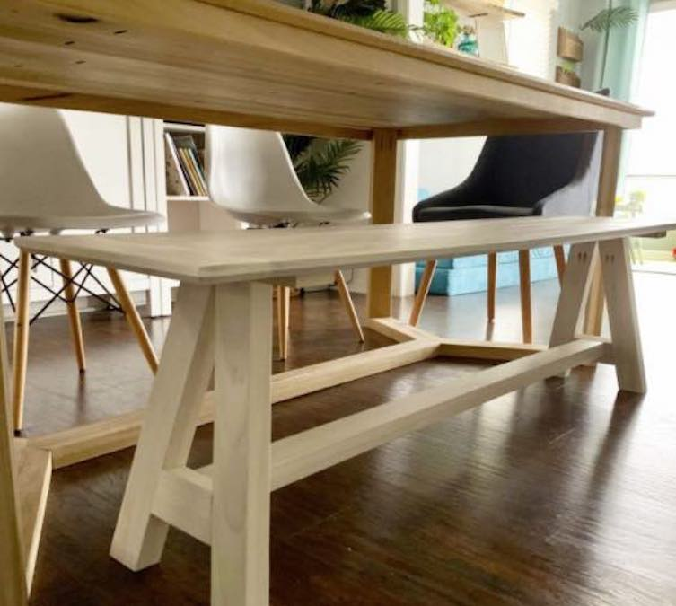 Build a Modern Bench with Angled Base with free plans.