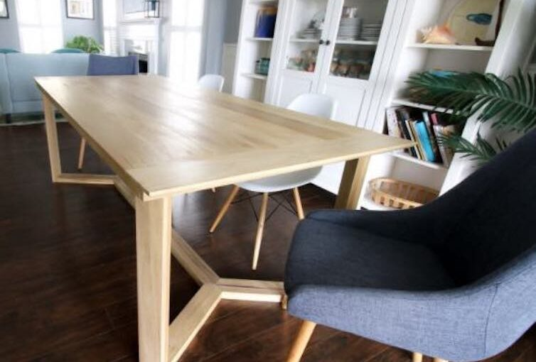 Dining Table with Angled Base