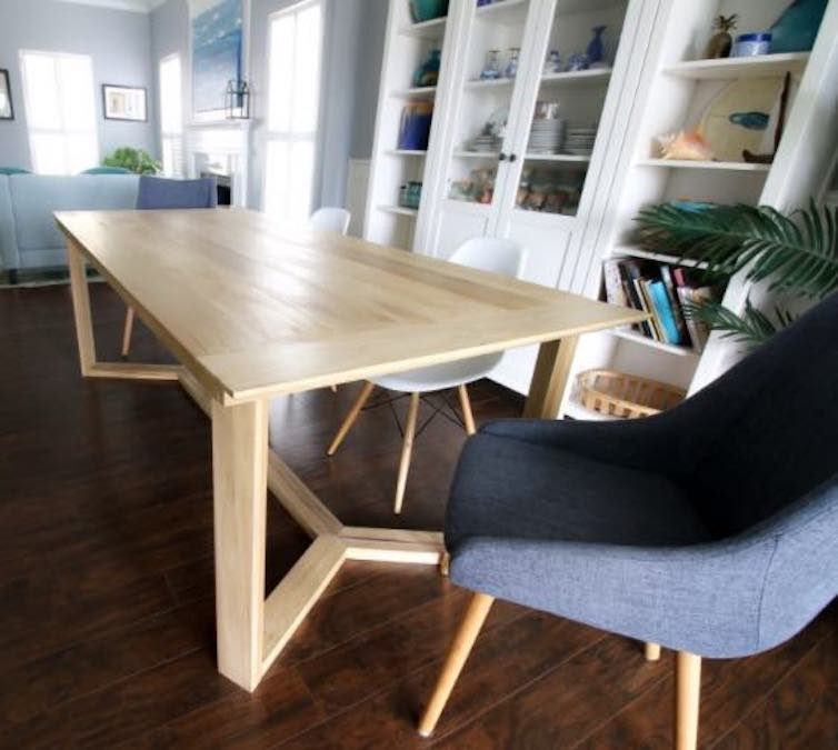 Learn how to build a Dining Table with Angled Base.