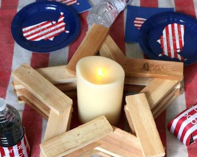 Free plans to build your own rustic Star Candleholder.