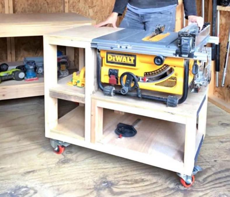 Free plans to build a Table Saw Cart.