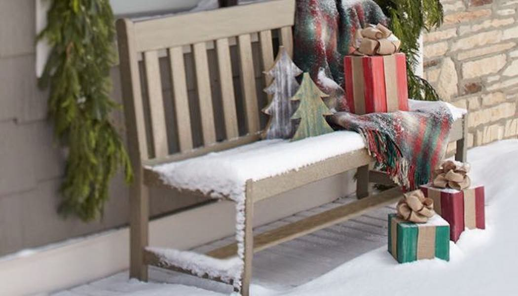 Build an Outdoor Bench with Slat Back with free plans.