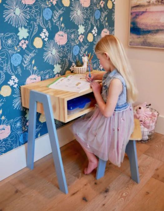 Free plans to build a Kid Size Desk.