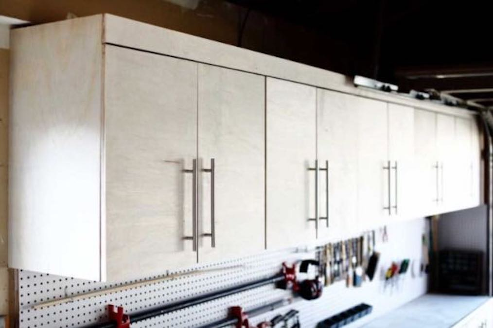 Build your own Wall Mounted Garage Cabinets with free plans.