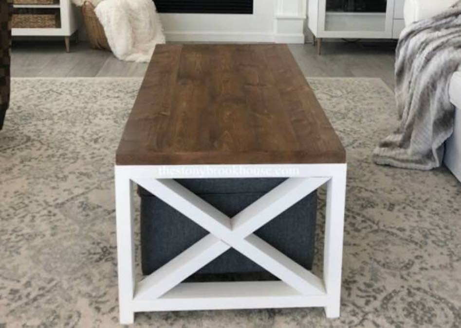 Build a Simple Farmhouse Coffee Table using free plans.