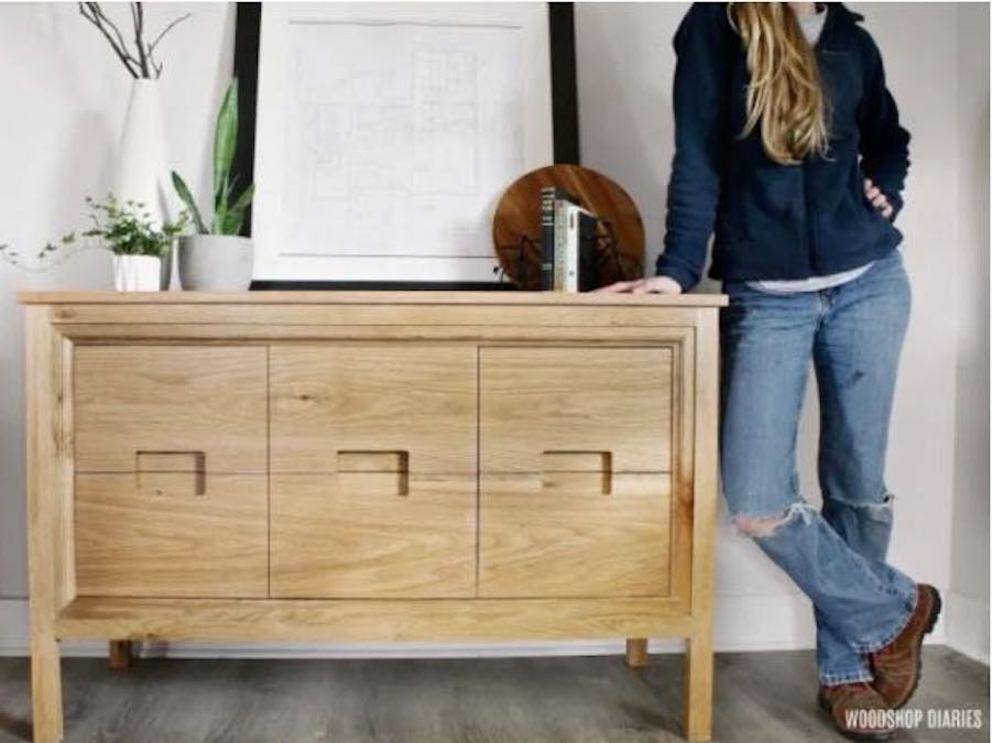 Free plans to build a Modern Dresser Console.