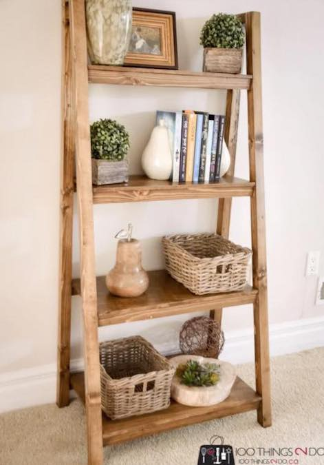 Build a Freestanding Angled Bookcase with free plans.