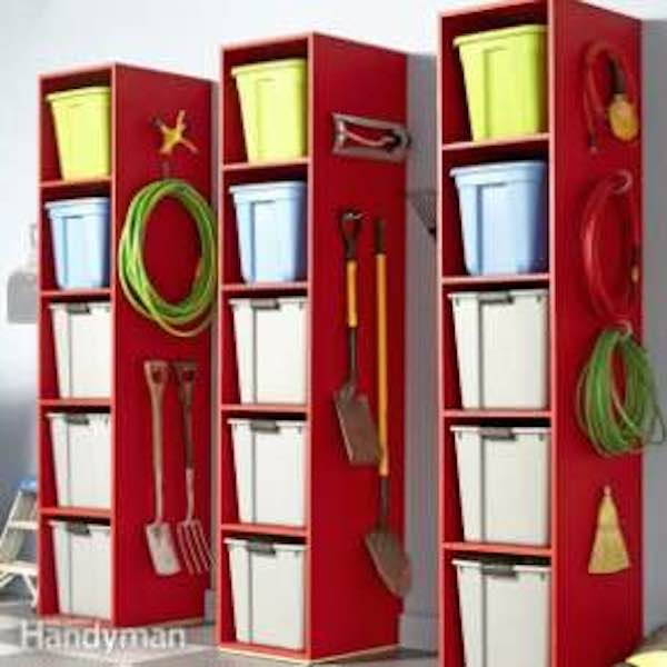 Free plans to build plywood Garage Storage Towers.