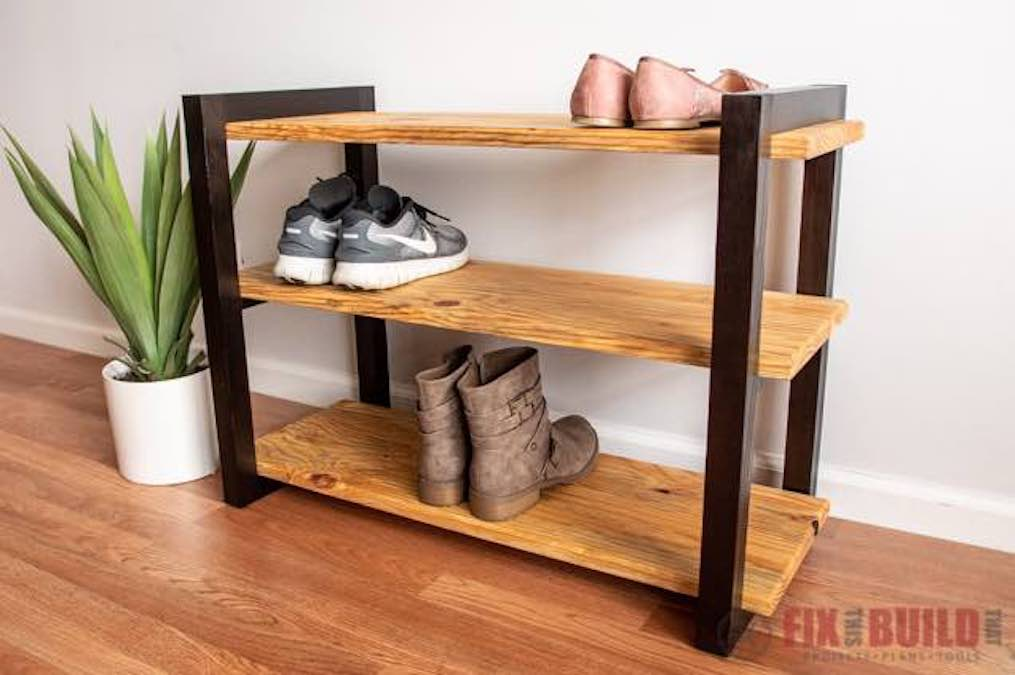 Free plans to build a modern Shoe Rack.