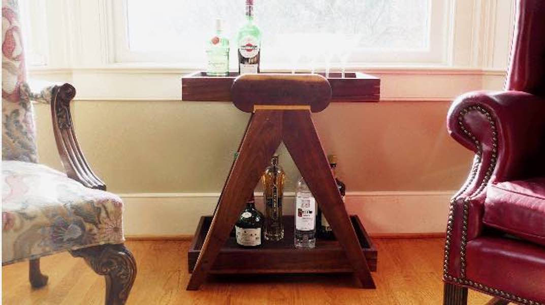 Free plans to build this Mid Century Modern Bar Cart.