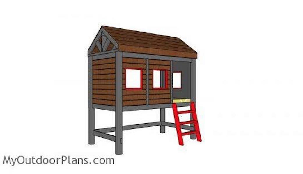 Build a High Cabin Bed Twin size with free plans.