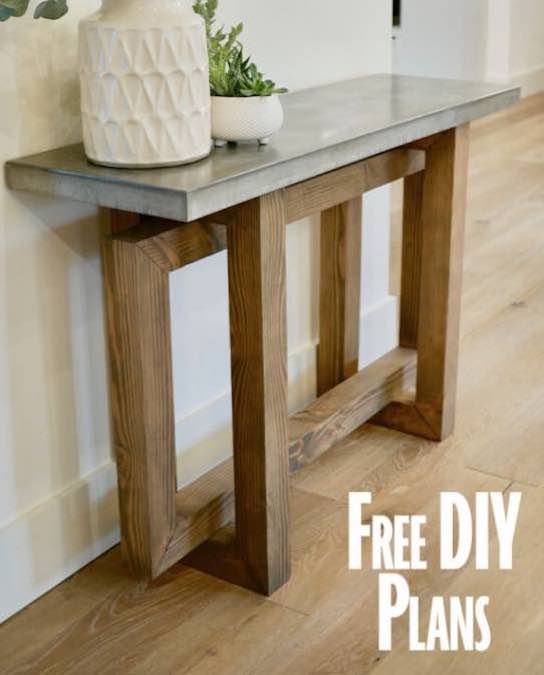 Build a Concrete Top Console Table with free plans.